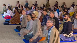 People meditating in the Meditation Hall